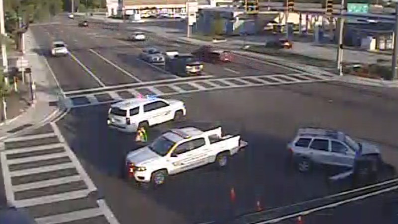 A crash is blocking the intersection.