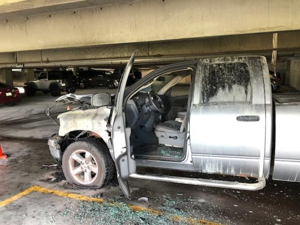 A truck fire at a parking garage in downtown Sarasota on November 18, 2019.
